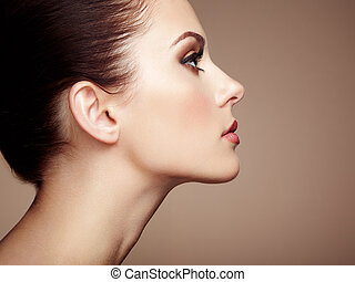 Beautiful woman face Perfect makeup Beauty fashion Eyelashes...