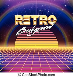 80s Retro Futurism SciFi Background - 80s Retro Futurism...