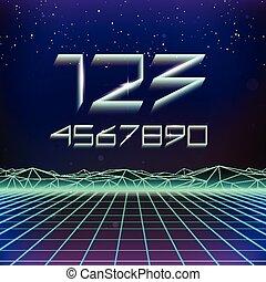80s Retro Futurism Geometric Font - 80s Retro Futurism...