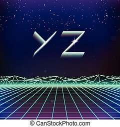 80s Retro Futurism Geometric Font from Y to Z