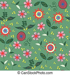 Abstract floral seamless pattern with cute colorful flowers  and