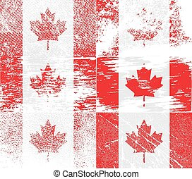 Flag of Canada with old texture. Vector illustration