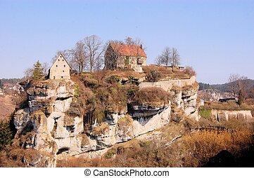 Pottenstein Castle in Franconian Switzerland, Germany -...