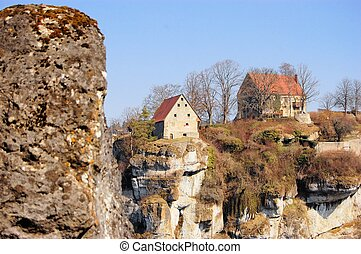 Pottenstein Castle in Franconian Switzerland, Germany -...