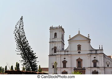 Christian Catholic Se cathedral in Old Goa, India -...