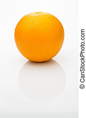 Orange on a white background - Orange with reflection on a...