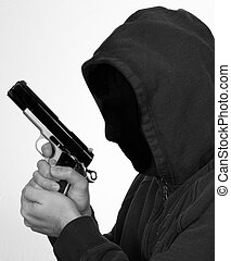 Robbery - Hooded man points gun