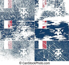 Flag of French Southern and Antarctic Lands with old texture. Vector