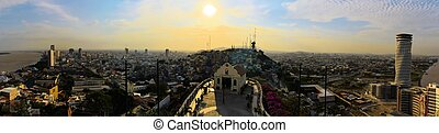 Guayaquil viewed from Santa Ana Hill, Ecuador - Panorama...