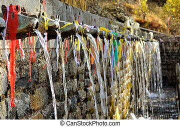 hundred and eight holy fountains of Muktinath Hindu temple -...