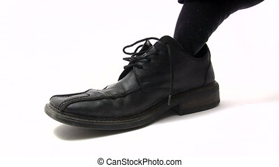 Black Shoe - Tying black shoe White background Canon HV30 HD...