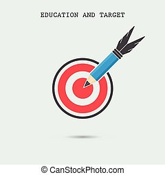 Pencil with target symbol on background Business idea and...