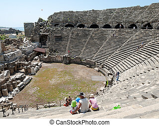 The ruins of ancient Roman amphitheatre in Side Turkey