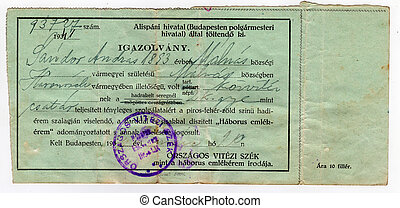 ancient historical certificate - Hungarian certificate of...