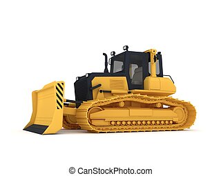 Yellow bulldozer. - Bulldozer. Isolated on white background...