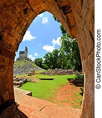 Mayan ruins of Tabna on the Puuc Route, Yucatan, Mexico -...