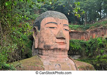 World's biggest Buddha in Leshan, China - The Leshan Giant...