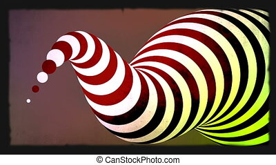 Abstract zebra 3d shape animation Green screen included
