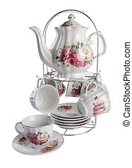 teapot and cup set . teapot and cup set on a background.