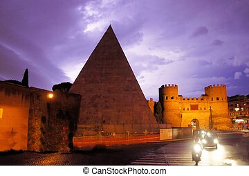 Pyramid of Cestius near the Porta San Paolo, Rome, Italy -...