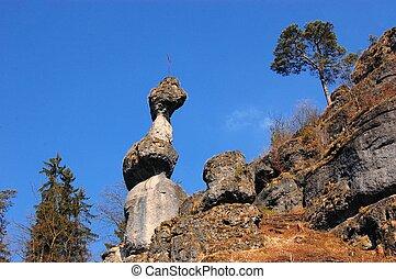 Rock tower monolith near Pottenstein, Germany - Rock tower...