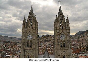 Towers of Basilica in Quito, Ecuador