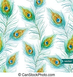 Peacock feather - Beautiful vector pattern with nice...