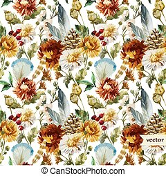 Boho flowers - Beautiful vector boho pattern with watercolor...