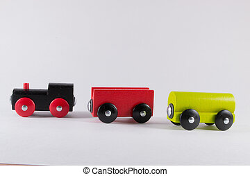 Wooden Toy Train Set - Wooden Toy train Set unconnected - a...