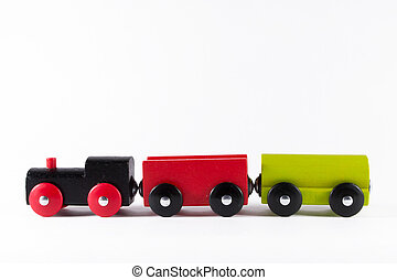 Wooden Toy Train Set - A wooden toy train set in red yellow...