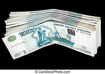 money isolated on black background