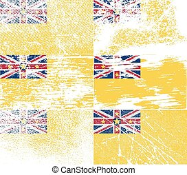 Flag of Niue with old texture. Vector illustration