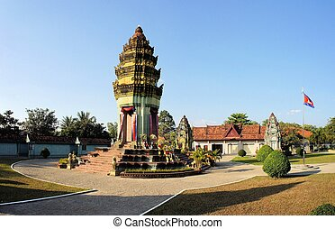 Cambodian Independence Monument in Siem Reap. Siem Reap and...