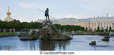 fountain with gold sculpture at Peterhof - fountain with...