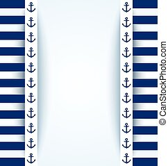 Nautical background with anchors and blue and white stripes