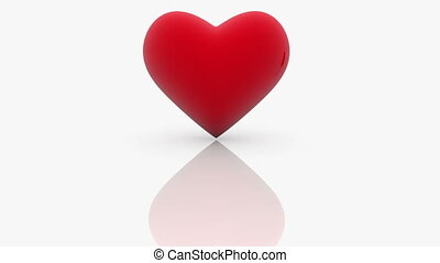 Red Heart with word LOVE on white background