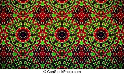Abstract mosaic in red,green and black