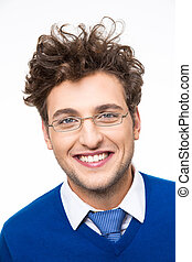 Cheerful business man with curly hair and glasses over white...