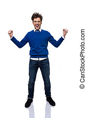 Full length portrait of a happiness man with hands raised up