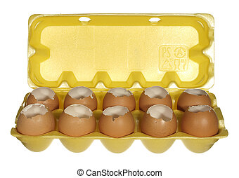 Box empty chicken eggs isolated on white background