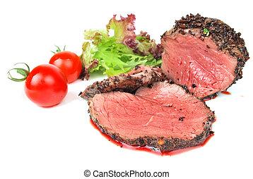 médio, carne,