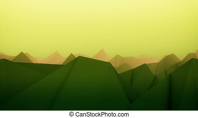 Abstract landscape surface in green and yellow