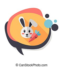 Pet rabbit flat icon with long shadow,eps10