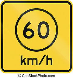 Advised Speed 60 kmh - US road warning sign: Advised speed...