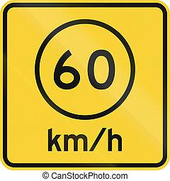 Advised Speed 60 kmh - US road warning sign: Advised speed...