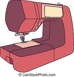 Cartoon Sewing Machine - Cartoon style drawing of a modern...