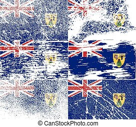 Flag of Turks and Caicos with old texture. Vector...