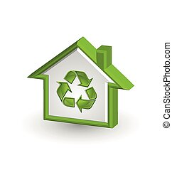 Recycle house icon on white background