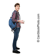 Full length portrait of a happy male student over white...