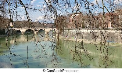 River Tiber Rome Italy Landscape - Urban view of Rome, Italy...